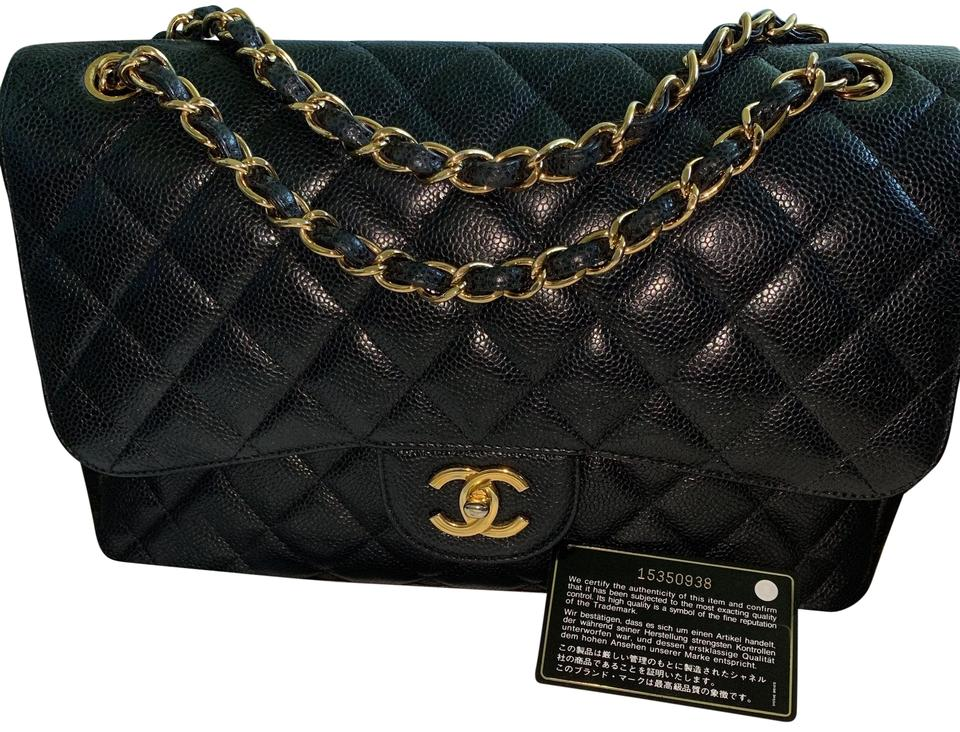 cf644c67bb30 Chanel Classic Flap Classic Jumbo Caviar Double with Gold Chains Black  Calfskin Leather Cross Body Bag
