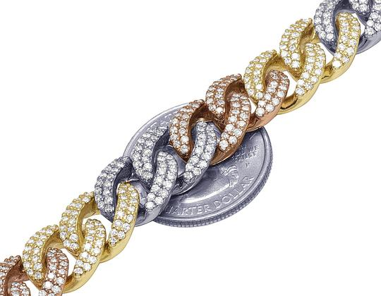 Jewelry Unlimited 10K Tri-Color Gold Real Diamond Miami Cuban Bracelet 8.6 CT 12MM 8.5