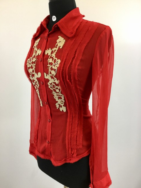 Kaelyn-Max Button Down Shirt Red Image 1