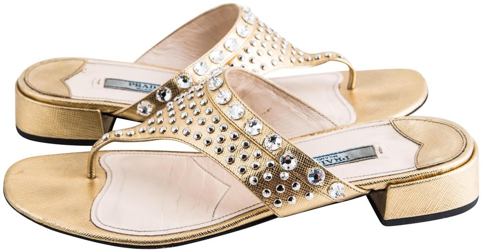 3493f4ae1c16 Prada Gold Metallic Crystal Thong Sandals Size US 6.5 Regular (M