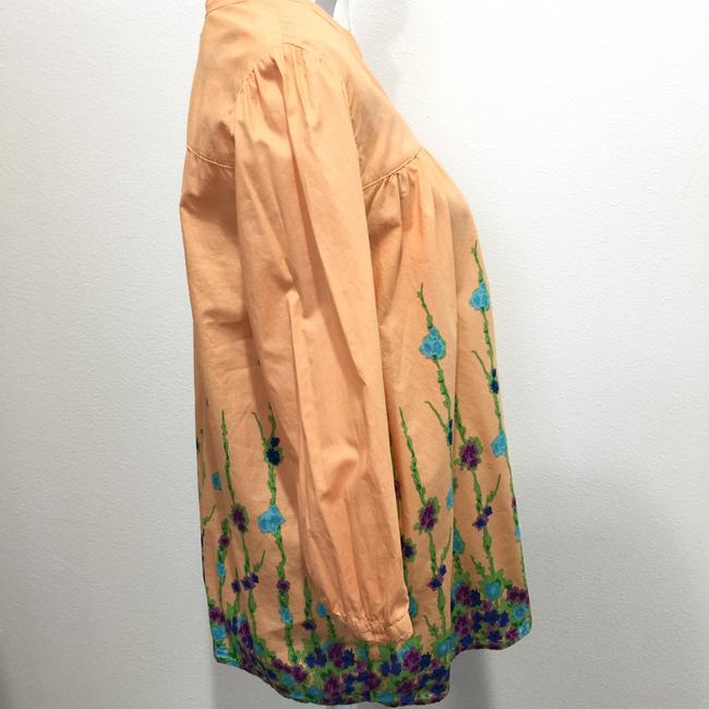 Old Navy 3/4 Sleeve Band Collar Floral Print Button Front Top Orange Image 1