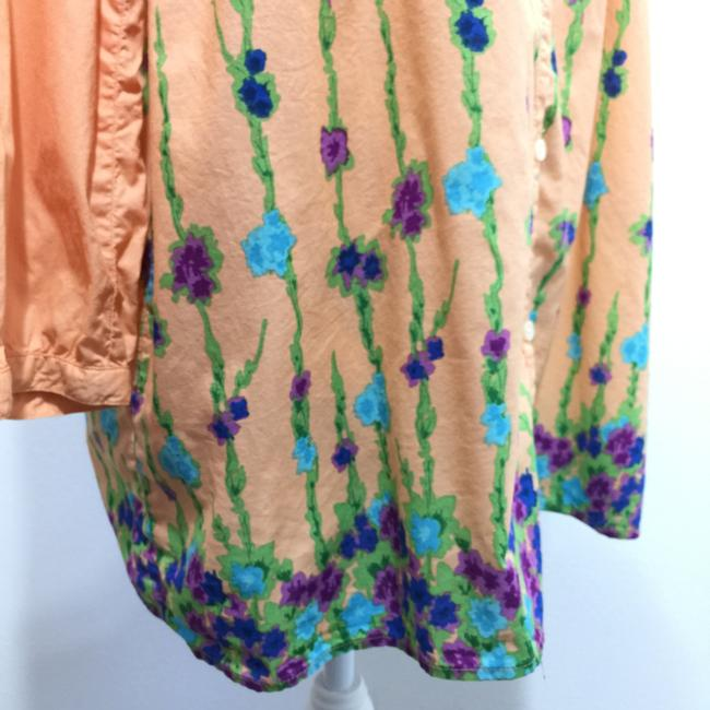 Old Navy 3/4 Sleeve Band Collar Floral Print Button Front Top Orange Image 2