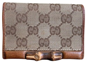 Gucci GUCCI Brown GG Canvas Leather Bamboo Card Case Wallet 112555