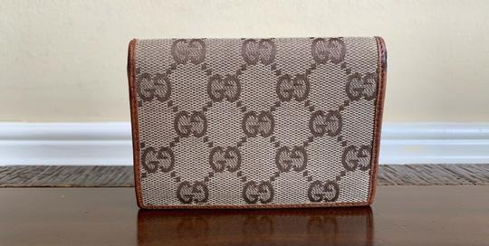 Gucci GUCCI Brown GG Canvas Leather Bamboo Card Case Wallet 112555 Image 1