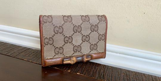 Gucci GUCCI Brown GG Canvas Leather Bamboo Card Case Wallet 112555 Image 11