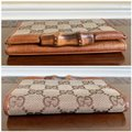 Gucci GUCCI Brown GG Canvas Leather Bamboo Card Case Wallet 112555 Image 3