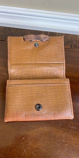 Gucci GUCCI Brown GG Canvas Leather Bamboo Card Case Wallet 112555 Image 4