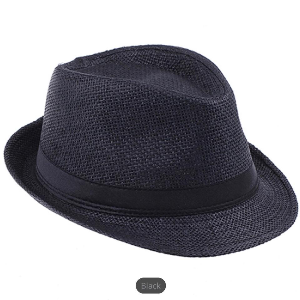 40c3fb9ed Black Summer Straw Men's Sun Cap Summer Beach Cap Panama Hat