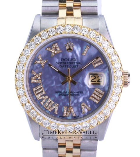 Preload https://img-static.tradesy.com/item/25241379/rolex-purple-mop-mens-datejust-diamond-roman-dial-diamond-4ctw-bezel-36mm-watch-0-1-540-540.jpg