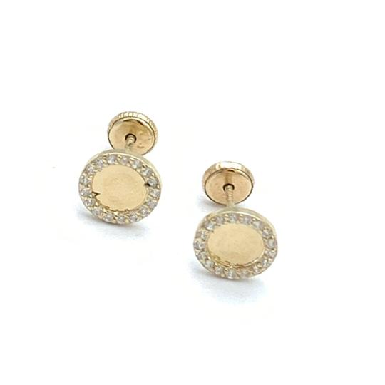 other (825) 14k gold round stud earrings Image 0
