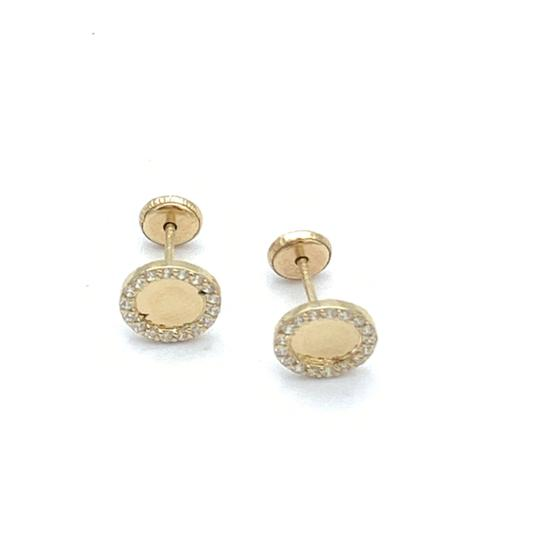 other (825) 14k gold round stud earrings Image 1