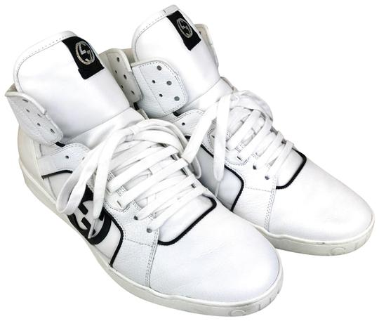 4b18eea78486 Gucci White Leather Lace Up Men s High Top Gg Logo Sneakers Sneakers. Size  US  12 Regular (M ...