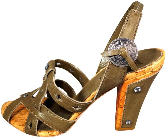 Item - Olive Green Brown Leather Gaucho Stacked Heels Cork Accents 1947 Coin New Sandals Size EU 39.5 (Approx. US 9.5) Regular (M, B)