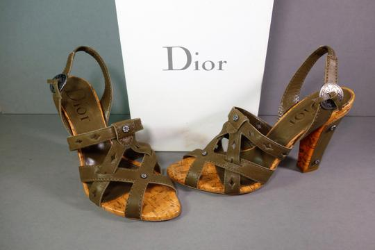 Dior Olive Green Brown Sandals Image 3