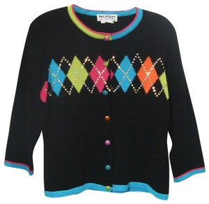 Jack B Quick Embellished Argyle Sequins Black Sweater Cardigan