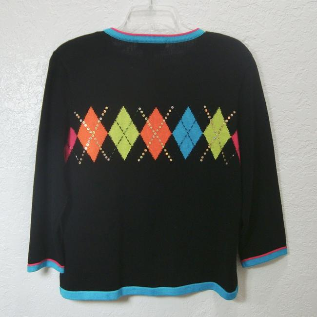 Jack B Quick Embellished Argyle Sequins Black Sweater Cardigan Image 1