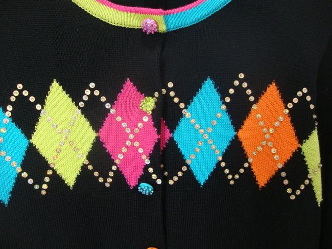 Jack B Quick Embellished Argyle Sequins Black Sweater Cardigan Image 2