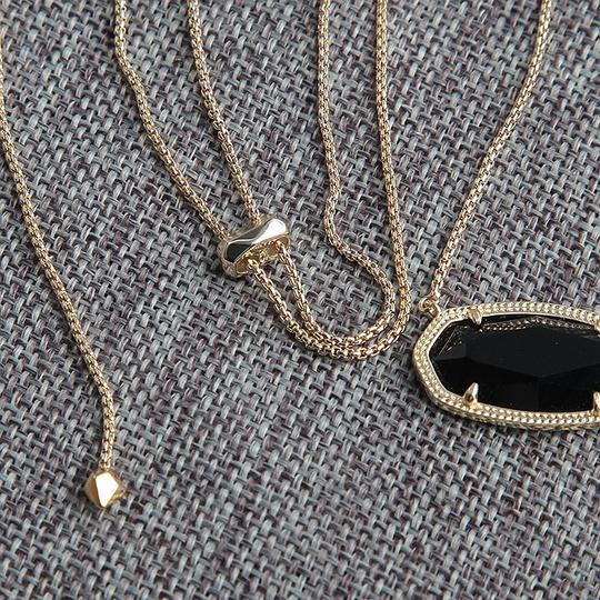Kendra Scott Brand New Kendra Scott Delaney Gold Necklace in Opaque Black Glass Image 7