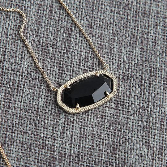 Kendra Scott Brand New Kendra Scott Delaney Gold Necklace in Opaque Black Glass Image 8