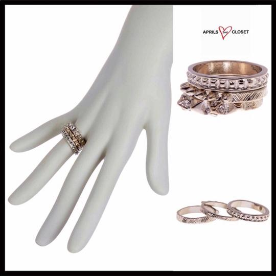 Boutique SILVER MULTI STACKED STATEMENT RING SET Image 6