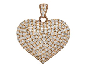 Jewelry Unlimited 14K Rose Gold Real Diamond Puff Heart Pendant 1