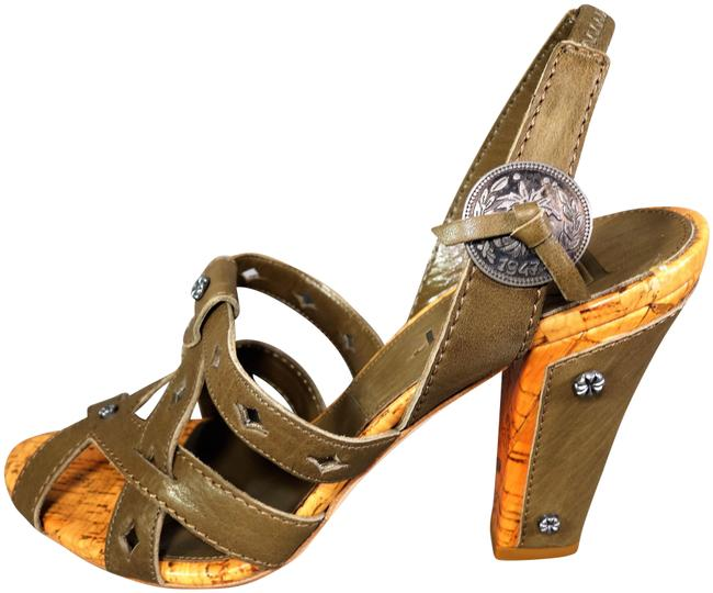 Item - Olive Green Brown Leather Guacho Stacked Heels Cork Accents 1947 Coin New Sandals Size EU 37.5 (Approx. US 7.5) Regular (M, B)