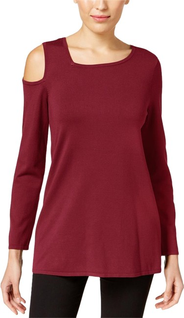 Preload https://img-static.tradesy.com/item/25241717/alfani-malbec-womens-casual-cold-shoulder-pullover-red-m-blouse-size-10-m-0-1-650-650.jpg