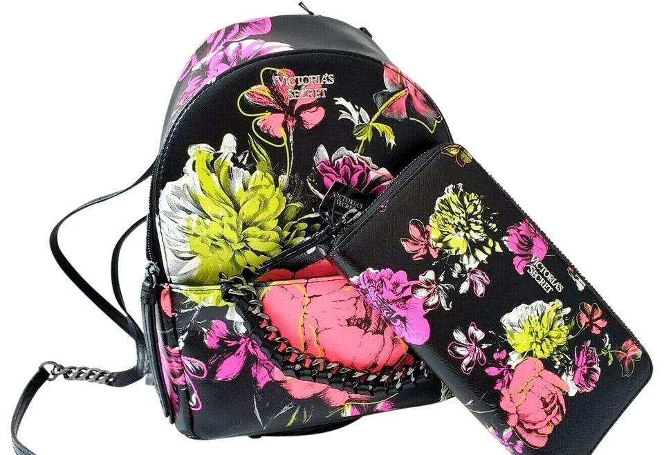 Victoria's Secret New 2pcs Neon Floral Wallet Card Case Black Faux Leather  Backpack
