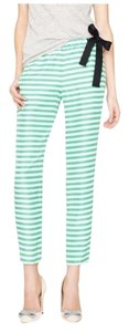 J.Crew Silk Stripes Classic Spring Relaxed Pants Green