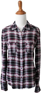 Paige Western Plaid Blouse Shirt Button Down Shirt Black Grey Pink