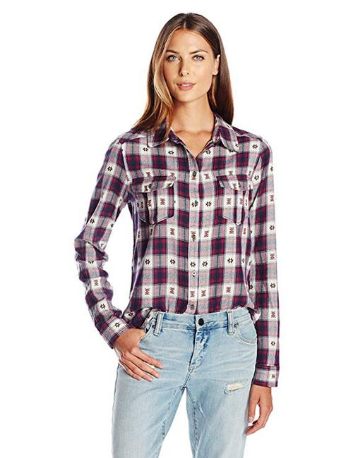 Paige Western Plaid Blouse Shirt Button Down Shirt Black Grey Pink Image 1