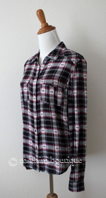 Paige Western Plaid Blouse Shirt Button Down Shirt Black Grey Pink Image 2