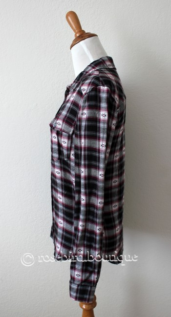 Paige Western Plaid Blouse Shirt Button Down Shirt Black Grey Pink Image 3