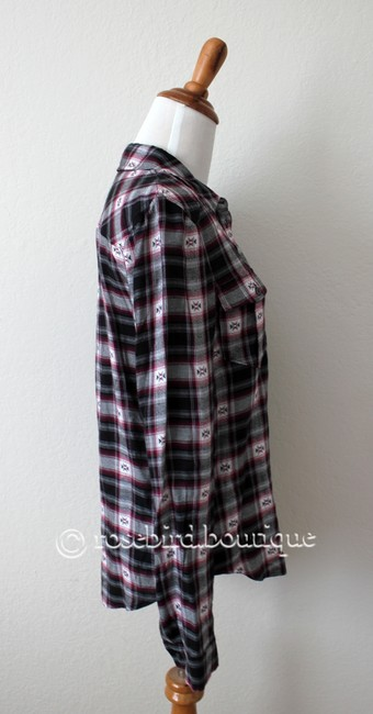 Paige Western Plaid Blouse Shirt Button Down Shirt Black Grey Pink Image 4
