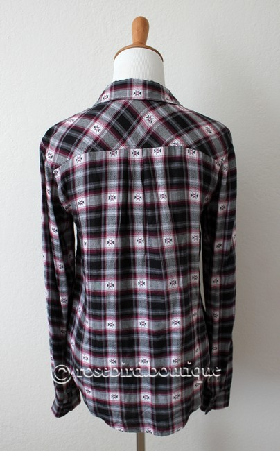 Paige Western Plaid Blouse Shirt Button Down Shirt Black Grey Pink Image 5