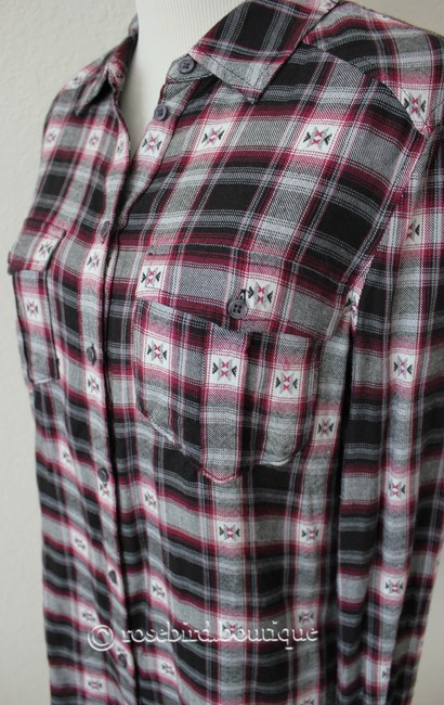 Paige Western Plaid Blouse Shirt Button Down Shirt Black Grey Pink Image 6