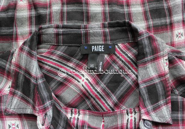 Paige Western Plaid Blouse Shirt Button Down Shirt Black Grey Pink Image 7