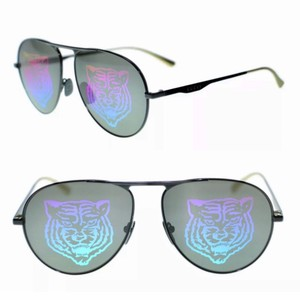 993235ae5dd Gucci Crystal Black Gg0009s 005 Aviator Mirrored New Sunglasses ...