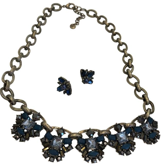 Item - Antique Bronze Chain Deep Blue Charcoal and Clear Crystals. (Earrings Included) Necklace