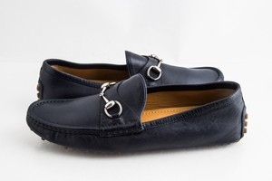 Gucci Blue Driver Loafer with Buckle Shoes