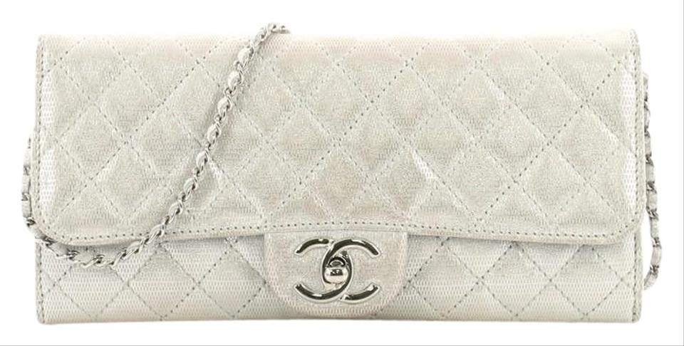 464dd0af3296 Chanel Wallet on Chain East West Quilted Metallic Silver Suede Clutch