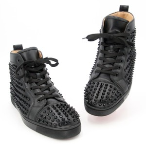 95fbac48ce554 Christian Louboutin Red Bottoms Sneakers Leather Sneakers Black Athletic