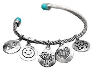 Other Alloy Twisted Cuff Bangles With Imitation Stone Vintage Gold&Silver Round Smile Love Mood Bangles For Women Girls