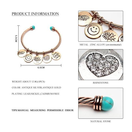 Other Alloy Twisted Cuff Bangles With Imitation Stone Vintage Gold&Silver Round Smile Love Mood Bangles For Women Girls Image 4