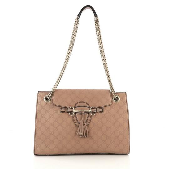7eec0e45747 Gucci Emily Chain Guccissima Large Beige Leather Shoulder Bag - Tradesy