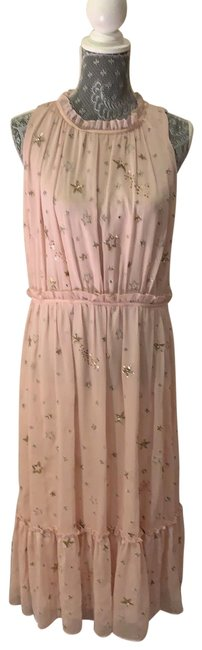 Item - Pink with Silver and Gold Stars Amada Long Night Out Dress Size 12 (L)