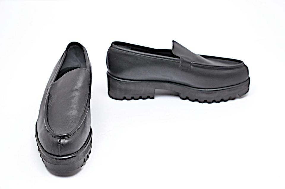 23704a439d3 Robert Clergerie Black Leather Platform Loafers Rubber Traction Sole ...
