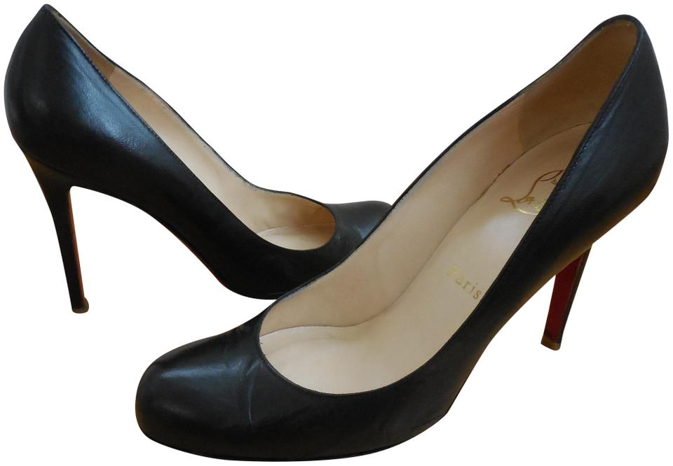 detailed look 21b3b 82878 Christian Louboutin Black Leather ~ Trademark Red Soles ~ Classic 100mm  Simple Pumps Size US 7 Regular (M, B) 66% off retail