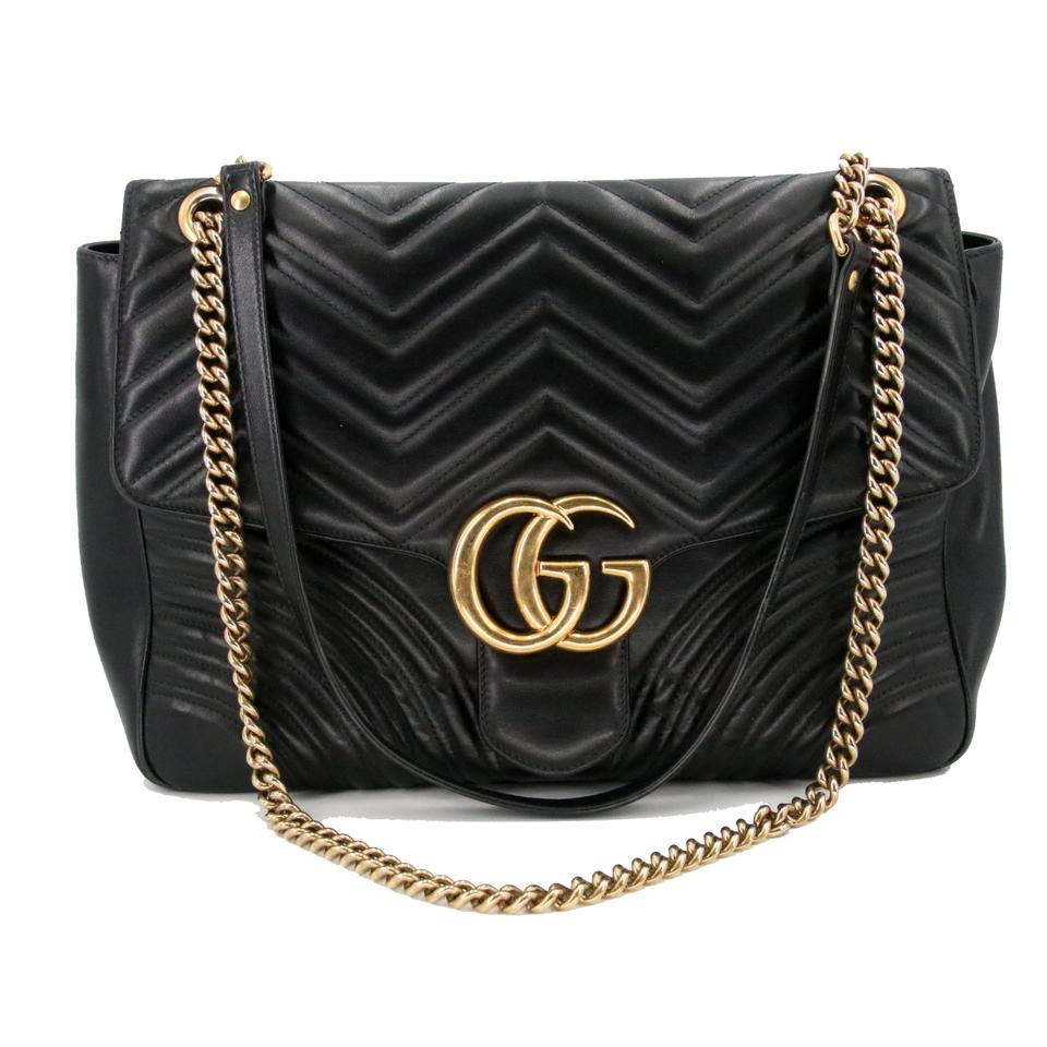 73375bc7db49f6 Gucci Marmont Gg 2.0 Medium Quilted Black Calfskin Leather Shoulder ...