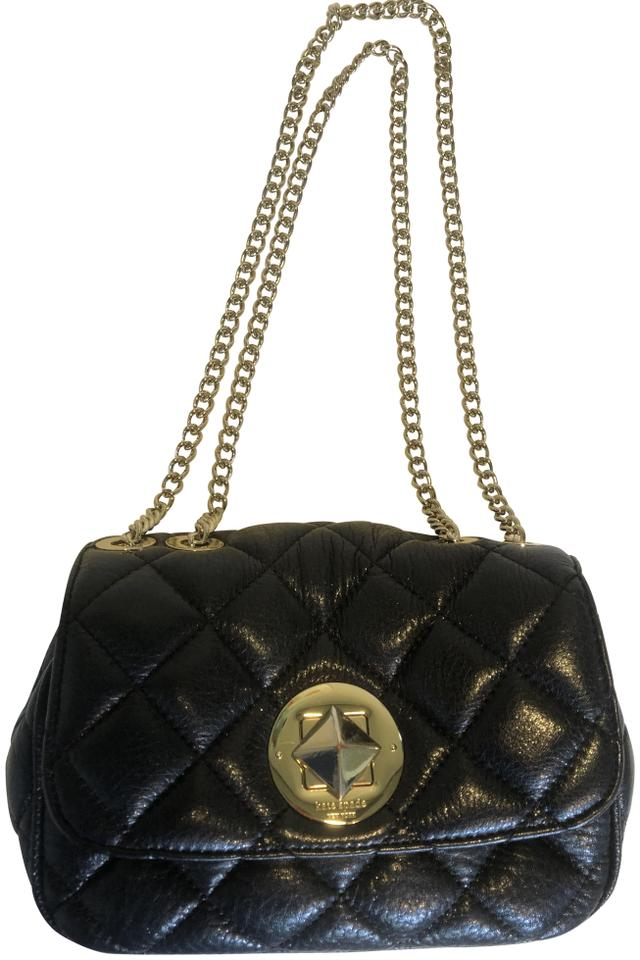 Kate Spade Double Chain Strap Black Leather Quilted